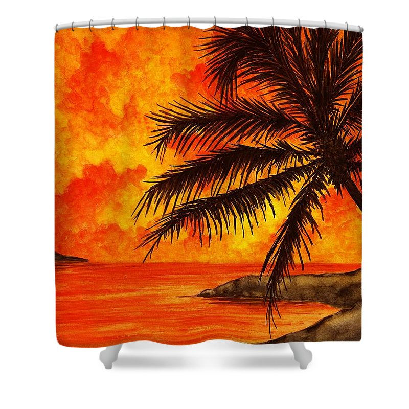 palm Tree Shower Curtain featuring the painting Tropical Heat by Michael Vigliotti