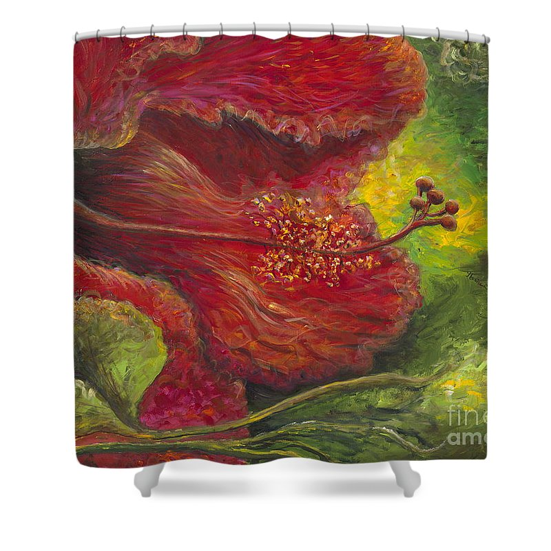 Flowers Shower Curtain featuring the painting Tropical Hibiscus by Nadine Rippelmeyer