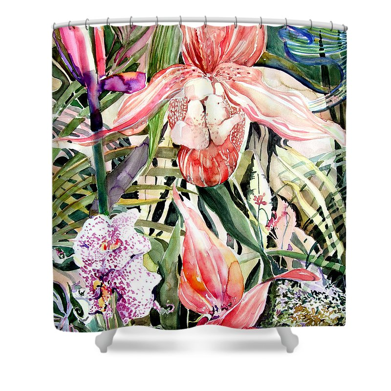 Watercolor Shower Curtain featuring the painting Tropical Orchids by Mindy Newman