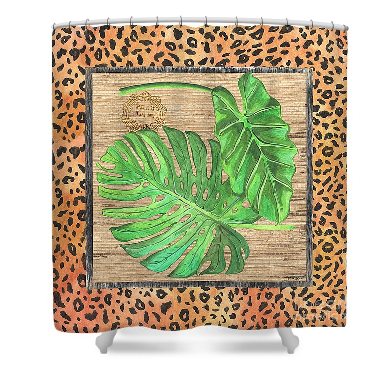 Palm Shower Curtain featuring the painting Tropical Palms 2 by Debbie DeWitt