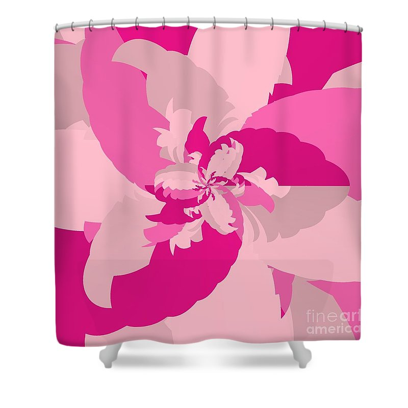 Tropical Pink Shower Curtain featuring the digital art Tropical Pink by Michael Skinner