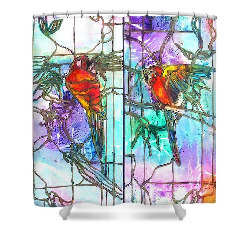 Tropical Shower Curtain featuring the painting Tropical Reflections by Barbara Colangelo