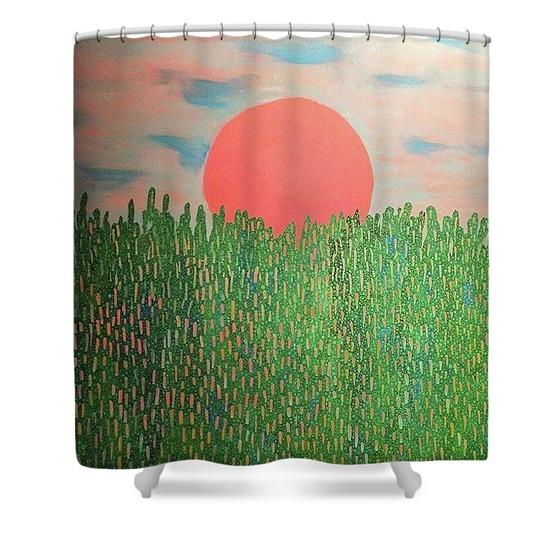 Painting Shower Curtain featuring the painting Tropical Spring by Natalie Gates