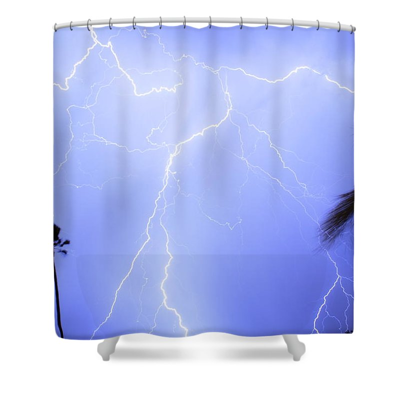 Lightning Shower Curtain featuring the photograph Tropical Storm by James BO Insogna