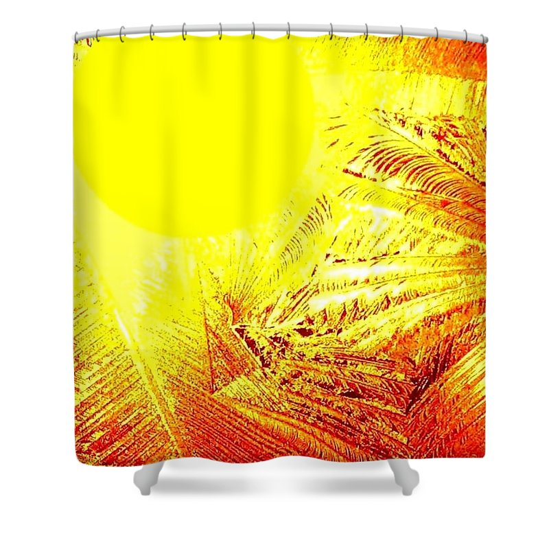 Abstract Shower Curtain featuring the digital art Tropical Sunrise by Will Borden