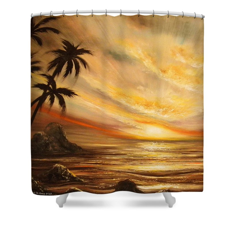 Tropical Shower Curtain Featuring The Painting Sunset 65 By Gina De Gorna