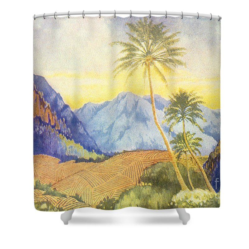 1922 Shower Curtain featuring the painting Tropical Vintage Hawaii by Hawaiian Legacy Archive - Printscapes