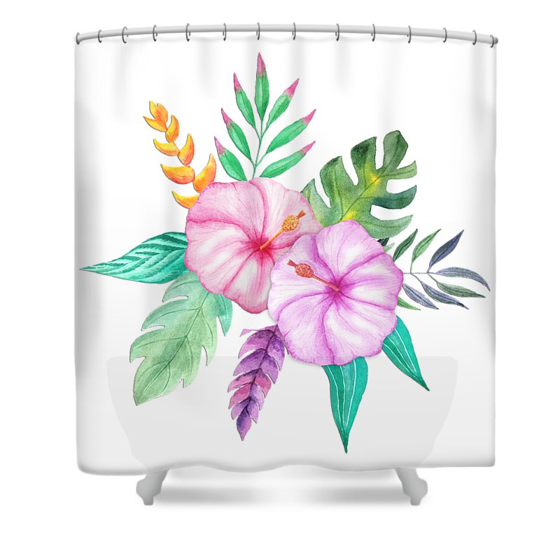 Delicate Shower Curtain Featuring The Painting Tropical Watercolor Bouquet 78 By Elaine Plesser