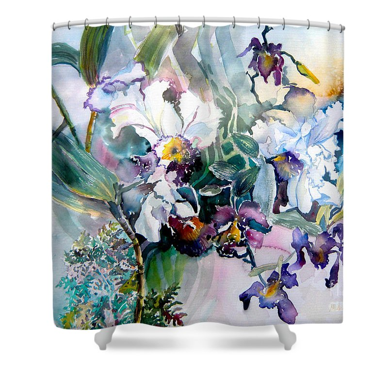 Orchids Shower Curtain featuring the painting Tropical White Orchids by Mindy Newman