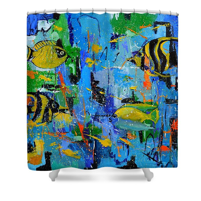 Sea Shower Curtain featuring the painting Tropican dream by Pol Ledent