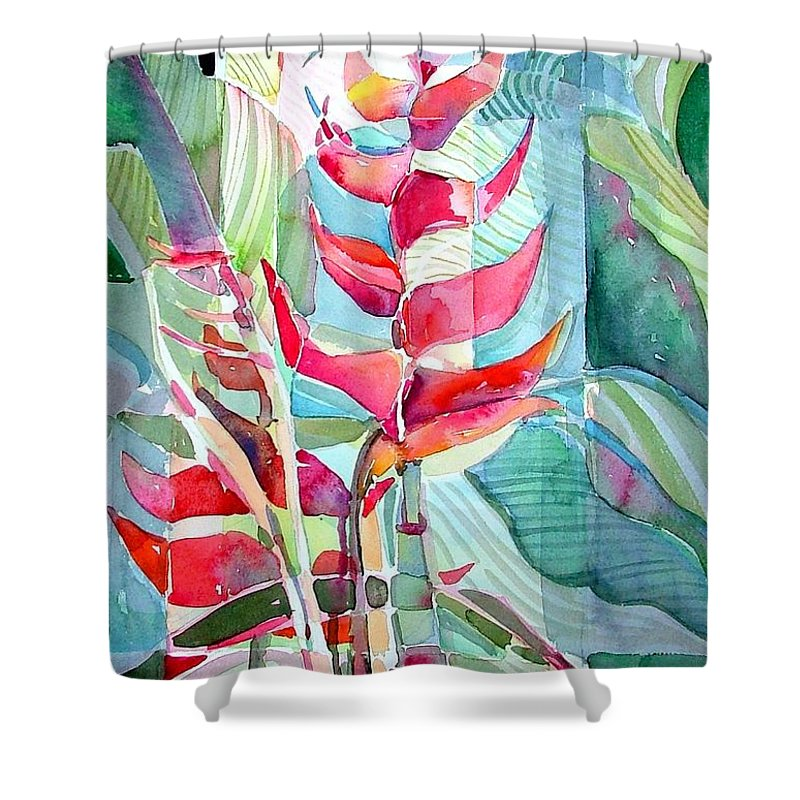 Landscape Shower Curtain featuring the painting Tropicana Red by Mindy Newman