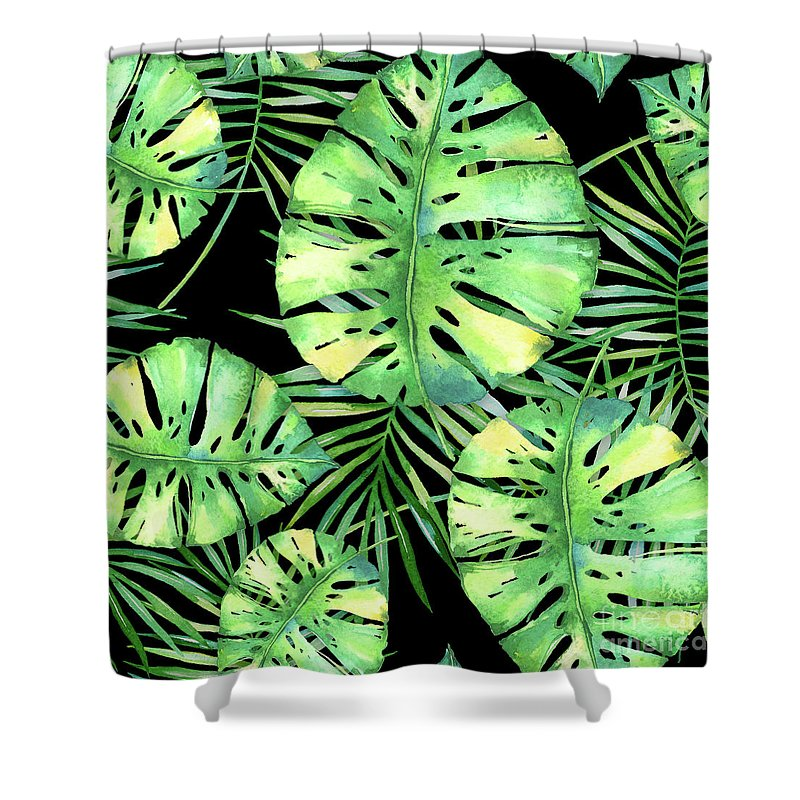 Monstera Shower Curtain featuring the painting Tropics Noir, Tropical Monstera And Palm Leaves At Night by Tina Lavoie