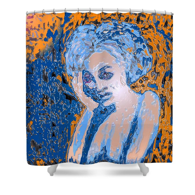 Woman Shower Curtain featuring the digital art Troubled Woman by Ian MacDonald