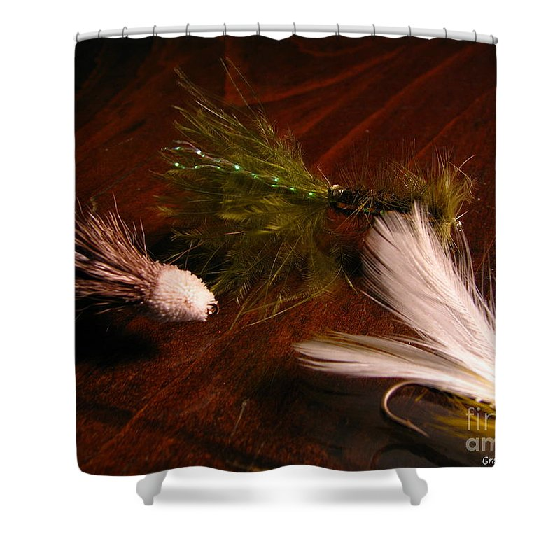 Patzer Shower Curtain featuring the photograph Trout Flys by Greg Patzer