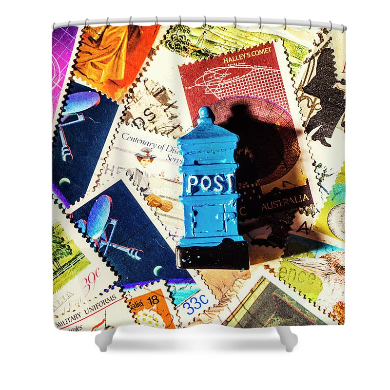 Mail Shower Curtain featuring the photograph True Blue Postbox by Jorgo Photography - Wall Art Gallery