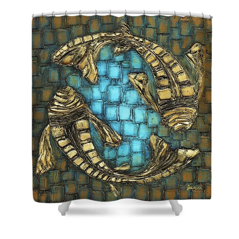 Koi Fish Shower Curtain featuring the painting True Love by Susanna Shaposhnikova