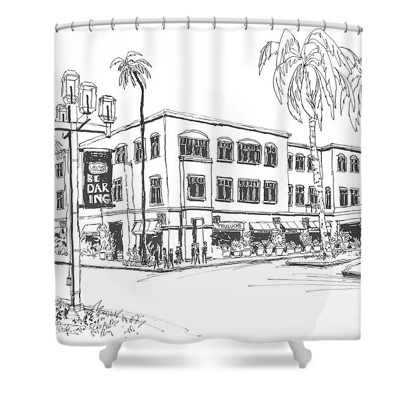 Trulucks Restaurant In Beautiful Mizner Park Boca Raton Shower Curtain Featuring The Drawing