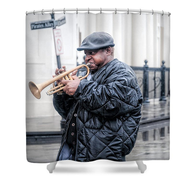 Musician Shower Curtain featuring the photograph Trumpet In The Rain - Nola by Kathleen K Parker