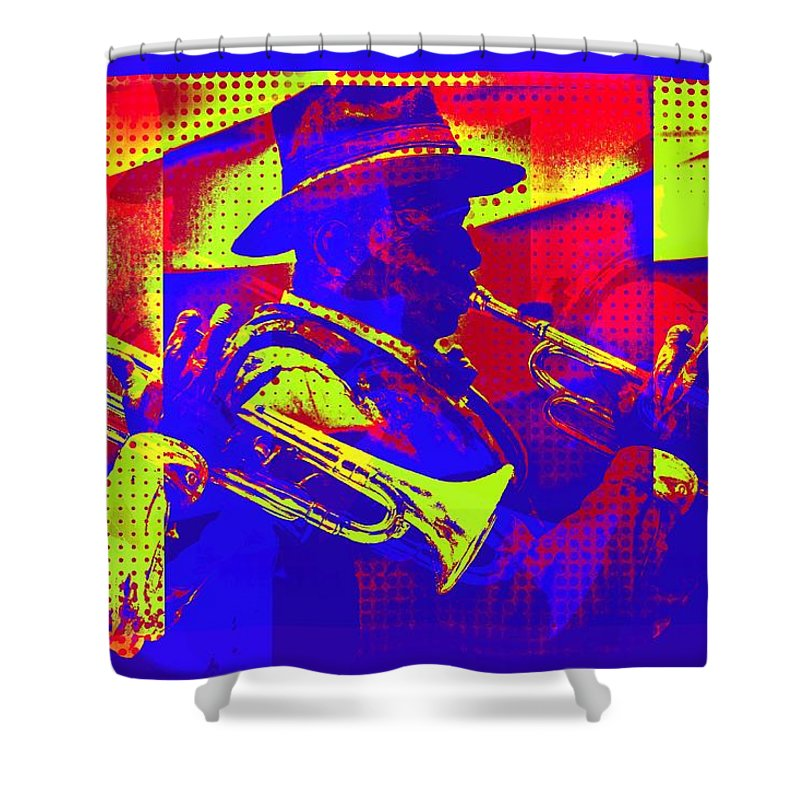 Trumpet Player Shower Curtain featuring the digital art Trumpet Player Pop-art by Tatiana Travelways