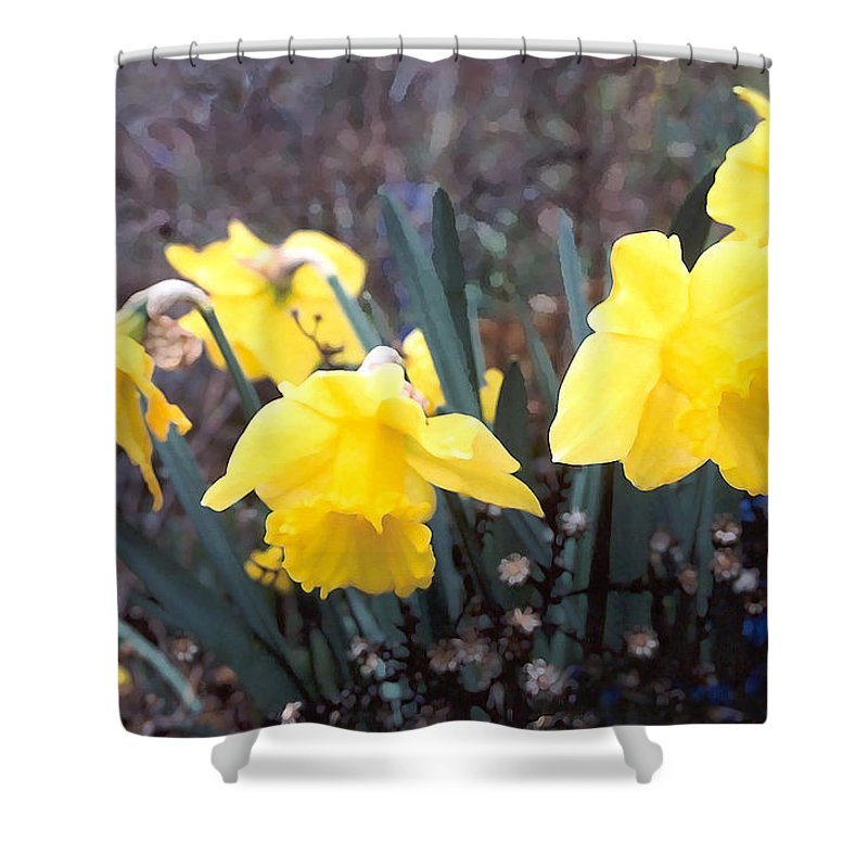 Flowes Shower Curtain featuring the photograph Trumpets Of Spring by Steve Karol