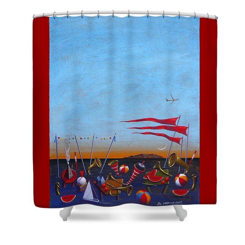 Piano Shower Curtain featuring the painting Trumpets Of The Mediterranean by Dimitris Milionis