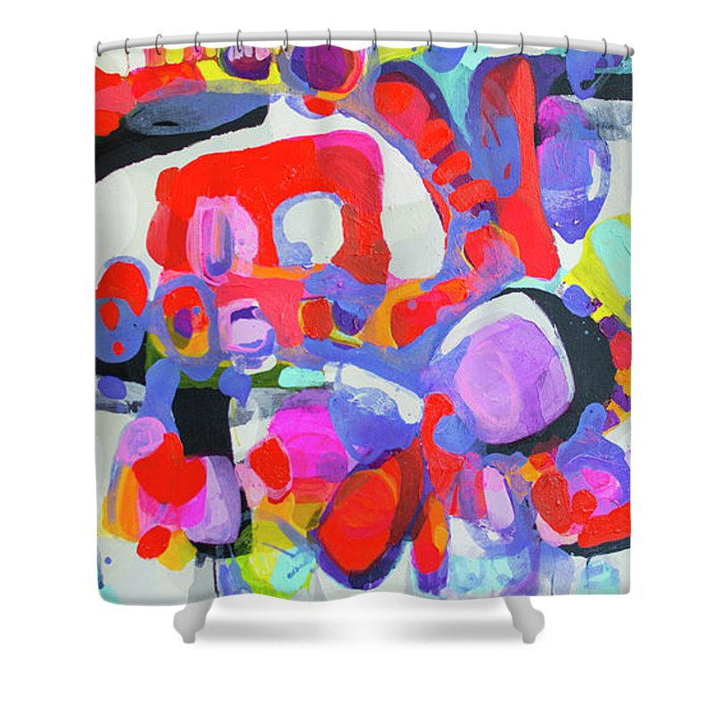 Abstract Shower Curtain featuring the painting Try Me by Claire Desjardins
