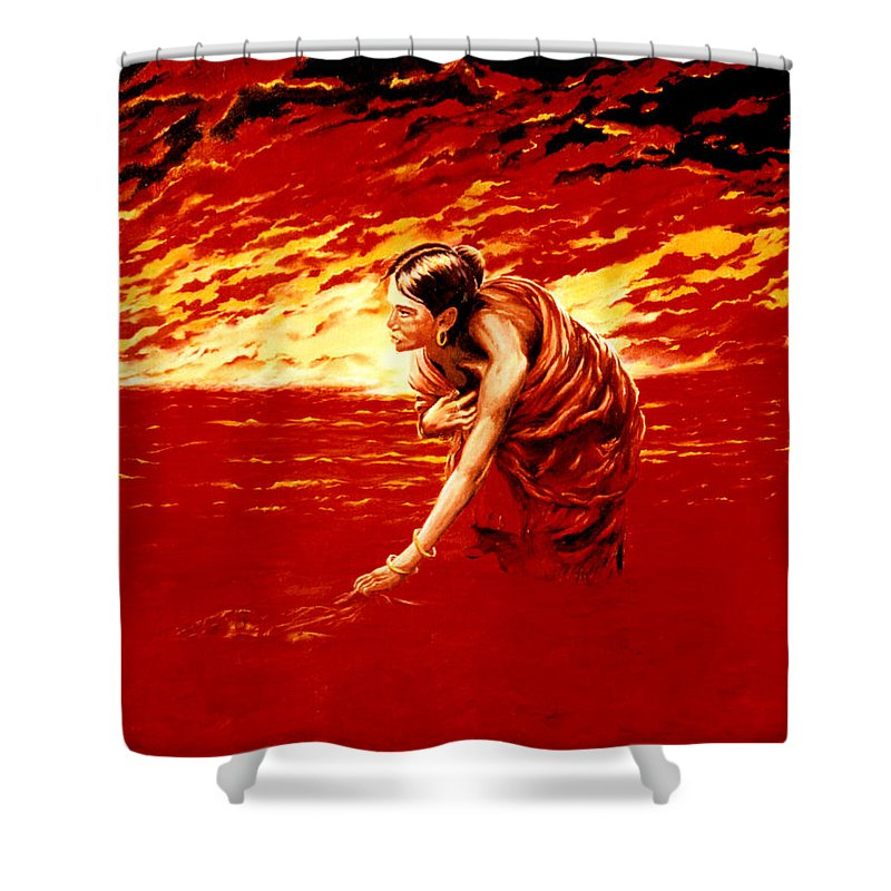 Seascape Shower Curtain featuring the painting Tsunami by Mark Cawood