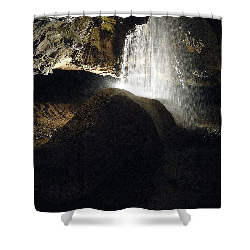 Cavern Shower Curtain featuring the photograph Tuckaleechee Cavern Waterfall by Brittany Horton