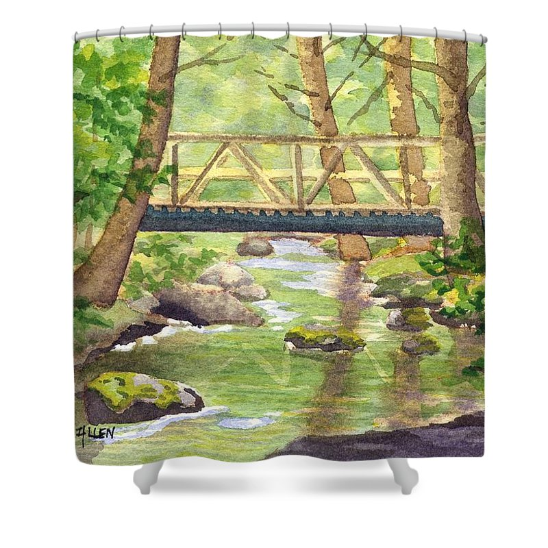 Stream Shower Curtain featuring the painting Tuckers Brook by Sharon E Allen