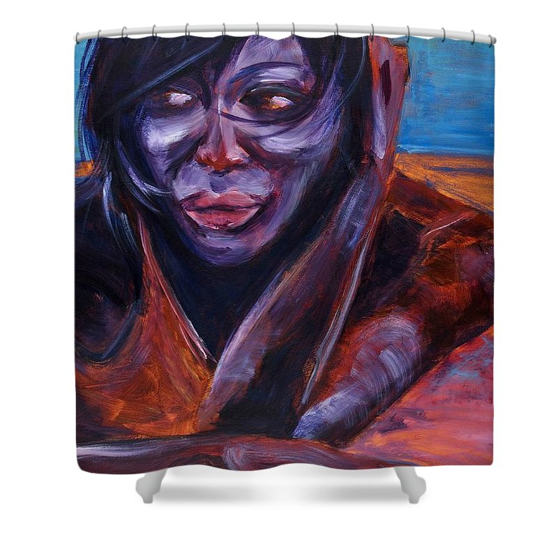Girl Shower Curtain featuring the painting Tuesday by Jason Reinhardt
