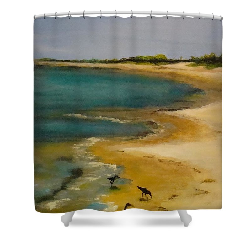 Coast Shower Curtain Featuring The Painting Tuesday Morning At Horn Island By Leslie Dobbins