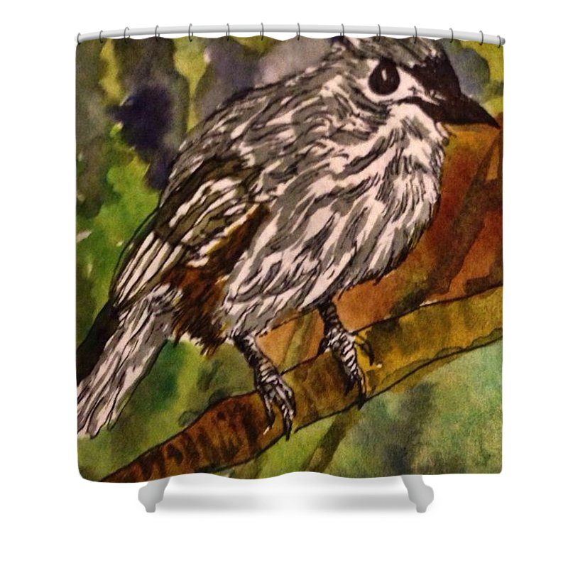 Tufted Titmouse Shower Curtain featuring the painting Tufted Titmouse by Angela Weddle