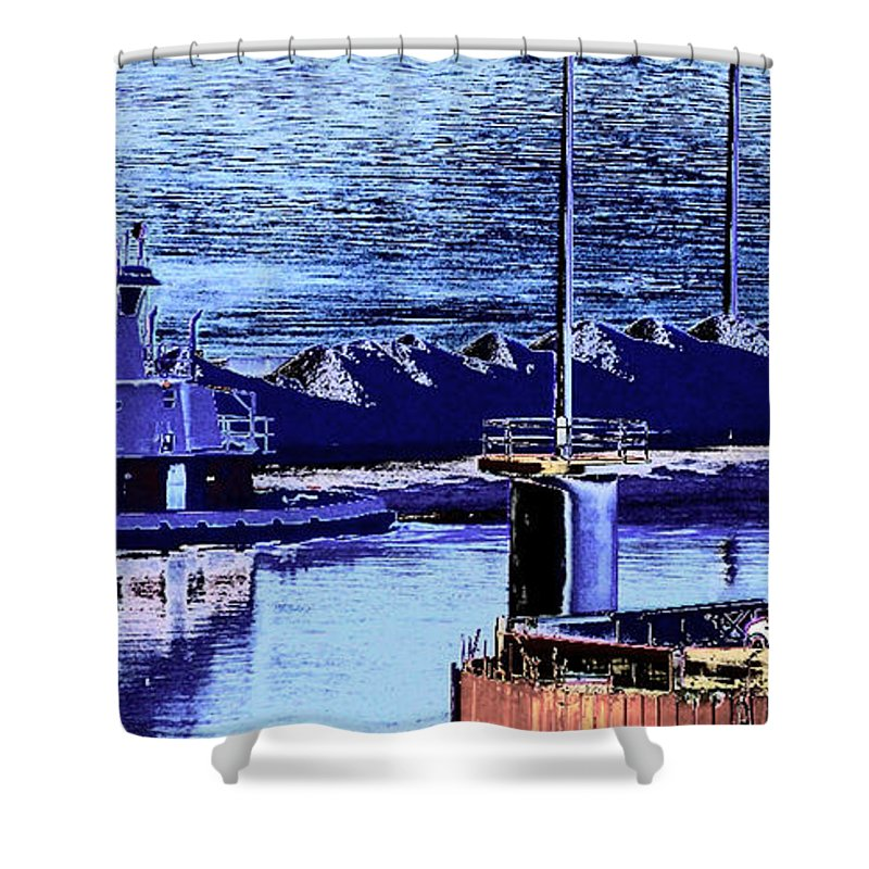 Abstract Shower Curtain featuring the photograph Tug Reflections by Rachel Christine Nowicki