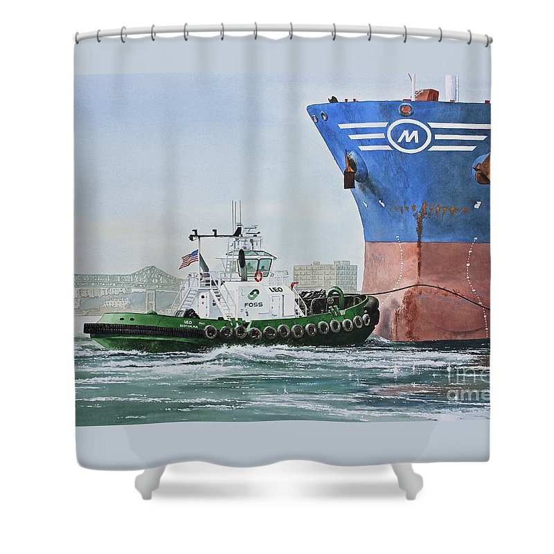 American Marine Artist Framed Print Shower Curtain featuring the painting Tugboat Leo Foss by James Williamson