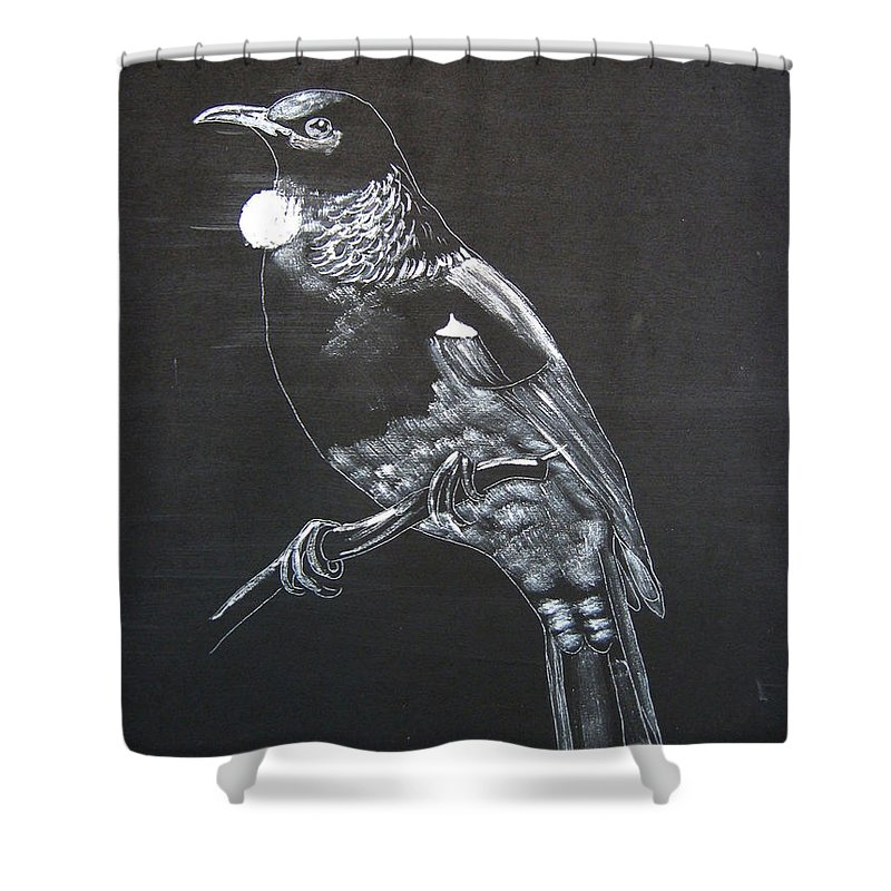 Tui Shower Curtain featuring the painting Tui by Richard Le Page