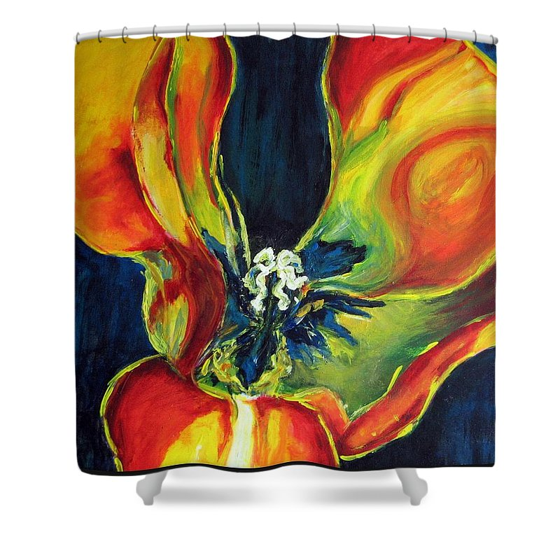 Tulip Shower Curtain featuring the painting Tulip by Dragica Micki Fortuna