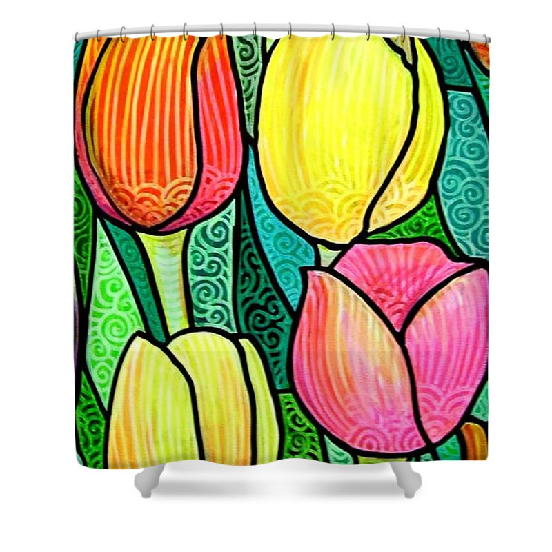 Tulips Shower Curtain featuring the painting Tulip Expo by Jim Harris