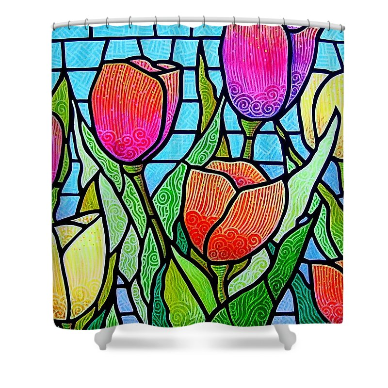 Tulips Shower Curtain featuring the painting Tulip Garden by Jim Harris