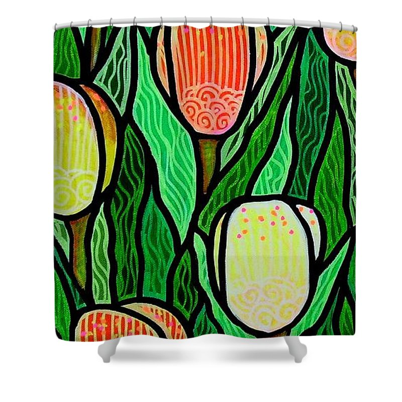 Tulips Shower Curtain featuring the painting Tulip Joy 2 by Jim Harris