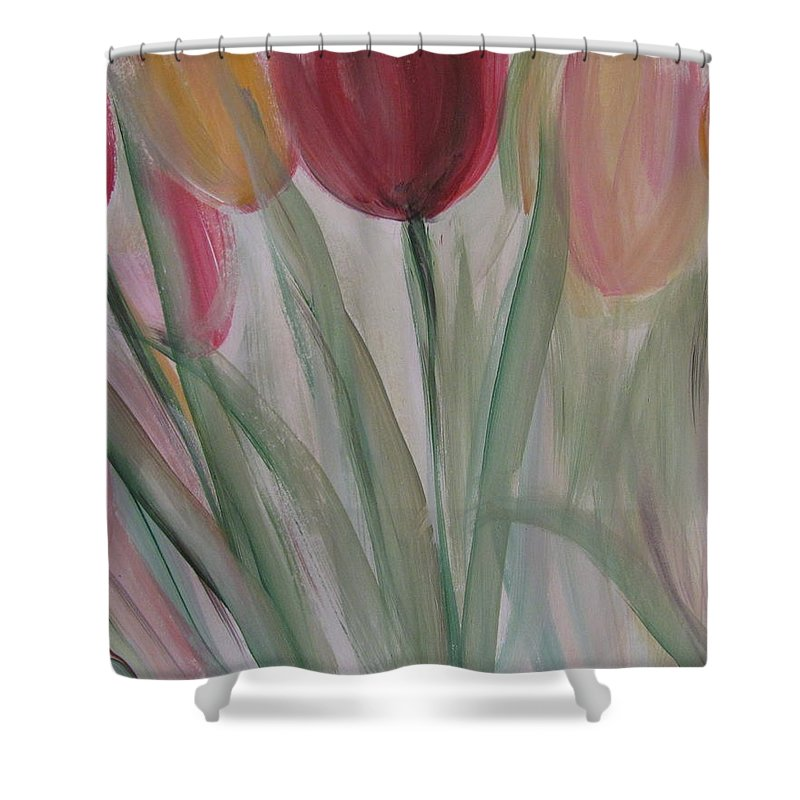 Tulips Shower Curtain featuring the painting Tulip Series 3 by Anita Burgermeister