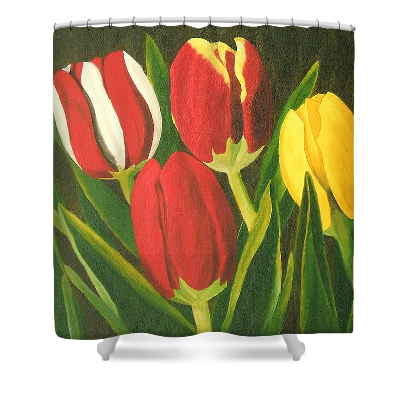Tulips Shower Curtain featuring the painting Tulip Time by Brandy House