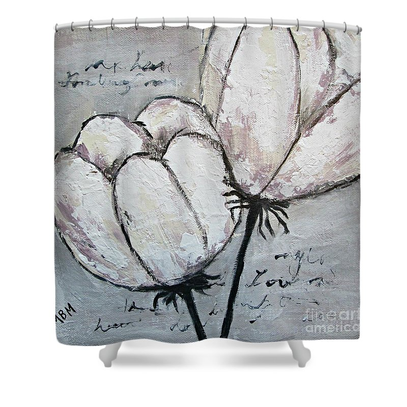 Tulips Shower Curtain featuring the painting Tulipe by Mary Mirabal