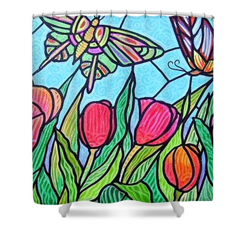 Spring Shower Curtain featuring the painting Tulips And Butterflies by Jim Harris