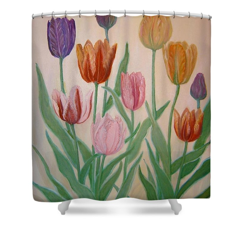Flowers Of Spring Shower Curtain featuring the painting Tulips by Ben Kiger