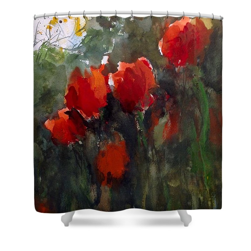 Tulips Shower Curtain featuring the painting Tulips by Charles Rowland