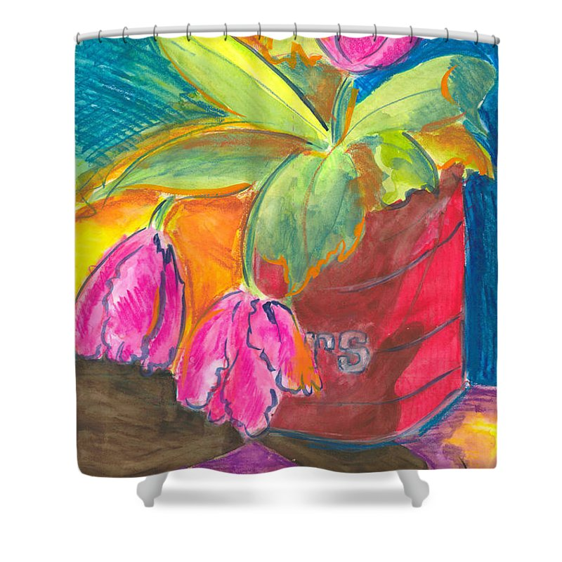 Flowers Shower Curtain featuring the painting Tulips In Can by Jean Blackmer