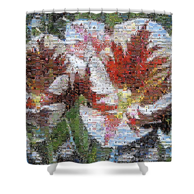 Lighthouse Shower Curtain featuring the photograph Tulips In Springtime Photomosaic by Michelle Calkins