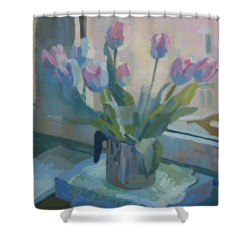 Tulips Blumen Water-lily Tulip Still Life Stilleben With Flowers Artist Nuremberg Nuernberg Deutschland Stilleben Scoop Metal Shower Curtain featuring the painting Tulips On A Window by Lena Krasotina