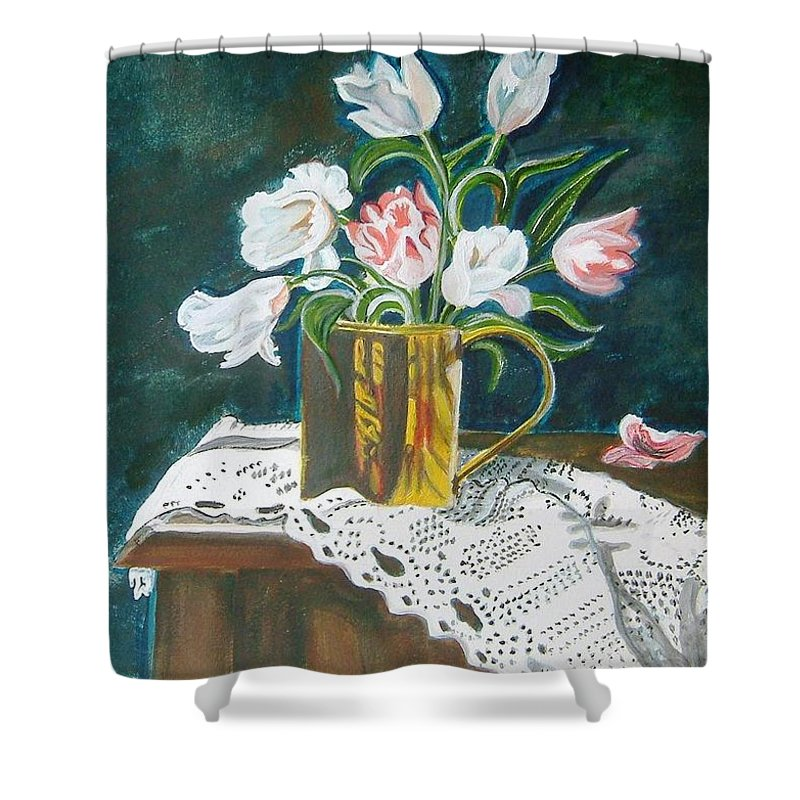 Tulips Shower Curtain featuring the painting Tulips by Manjiri Kanvinde