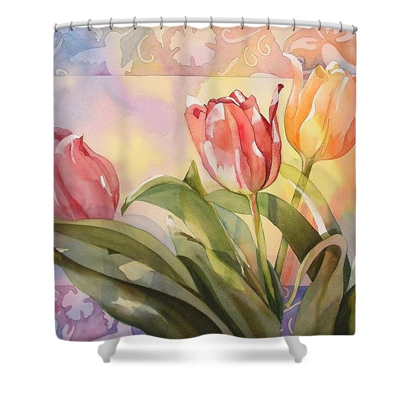 Tulips Shower Curtain featuring the painting Tulips by Marlene Gremillion